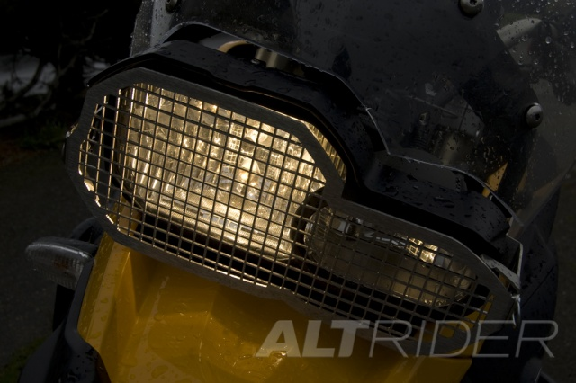 AltRider Stainless Steel Headlight Guard Kit for the BMW F 650GS - Action Shot