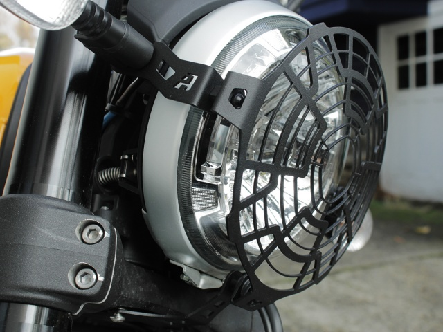 AltRider Stainless Mesh Headlight Guard for the Ducati Scrambler - Installed