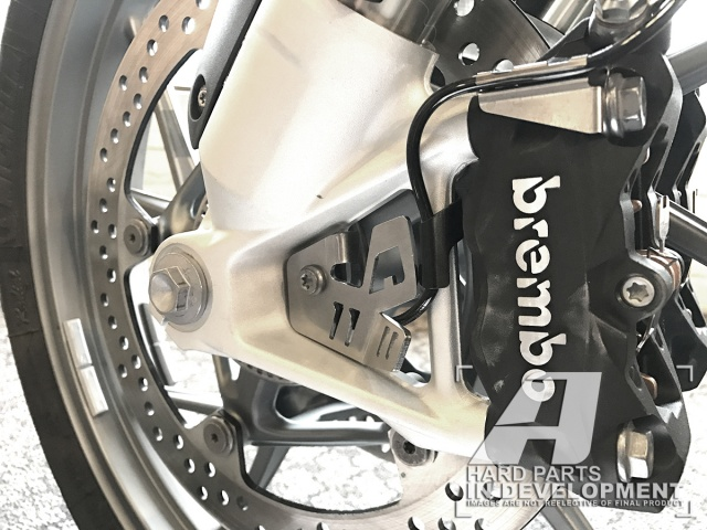 AltRider ABS Sensor Guard for the BMW R 1200 & R 1250 Water Cooled - Silver - Installed