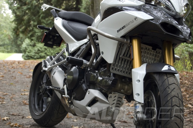 AltRider Crash Bar Frame Sliders for Ducati Multistrada - Installed