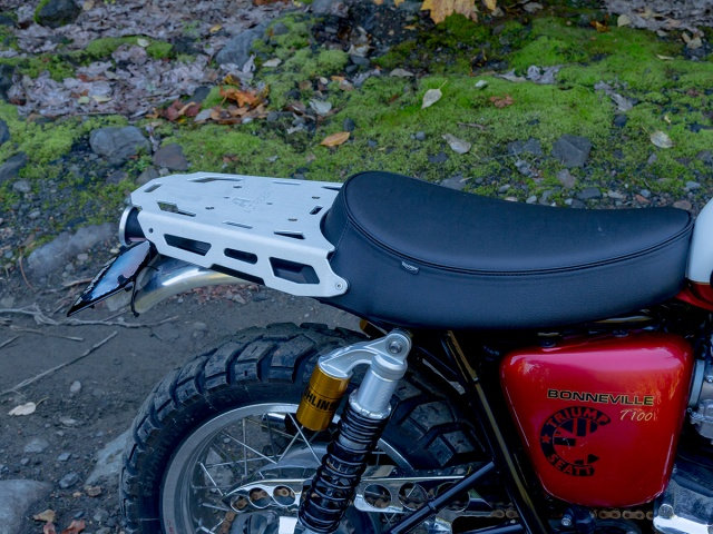 AltRider Luggage Rack for Triumph Bonneville / T100 - Black - Installed