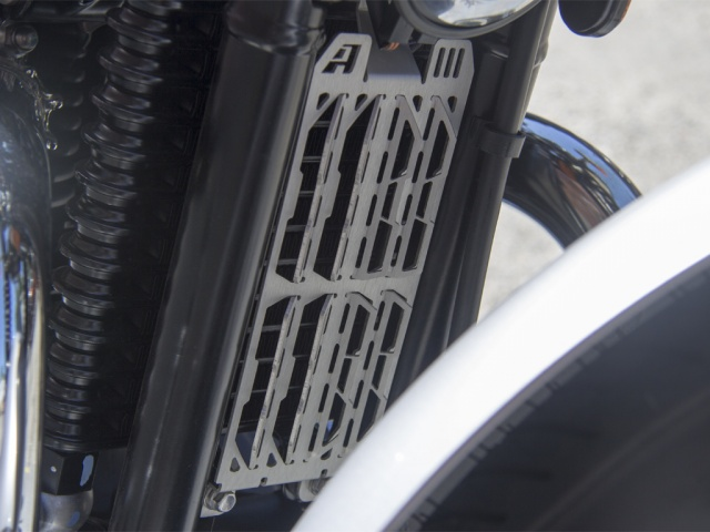 AltRider Oil Cooler Guard for the Triumph Scrambler - Installed