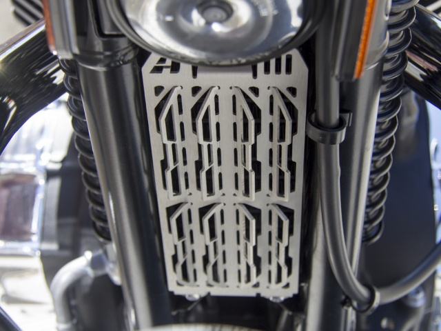 AltRider Oil Cooler Guard for the Triumph Thruxton - Installed