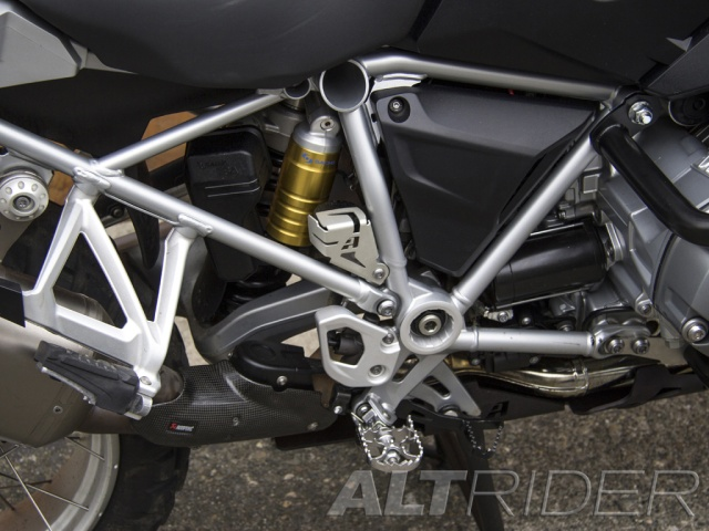 AltRider Rear Brake Reservoir Guard for the BMW R 1200 & R 1250 GS /GSA Water Cooled - Silver - Installed