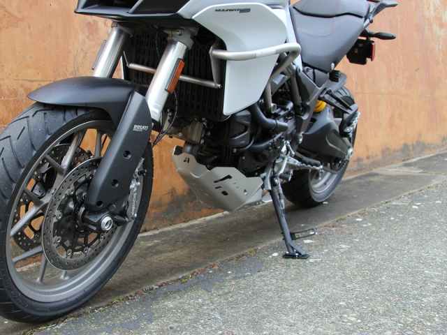 AltRider Side Stand Enlarger for the Ducati Multistrada 950 - Silver - Installed