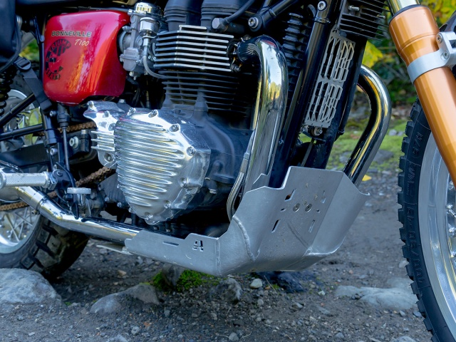 AltRider Skid Plate for Triumph Thruxton - Installed