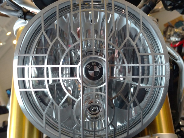 AltRider Stainless Steel Headlight Guard for the BMW R nineT Models - Installed