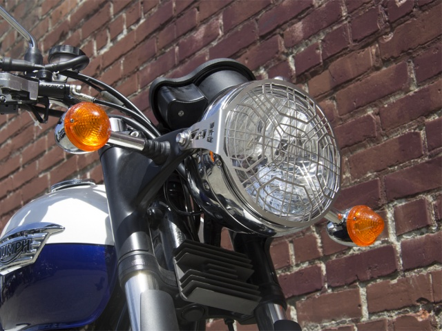 AltRider Stainless Steel Headlight Guard for the Triumph Bonneville / T100 - Installed