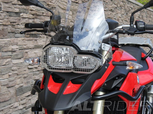 AltRider Stainless Steel Headlight Guard Kit for the BMW F 800 GS - Installed