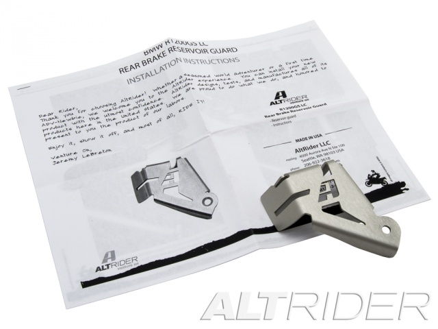 AltRider Rear Brake Reservoir Guard for the BMW R 1200 & R 1250 GS /GSA Water Cooled - Silver - Product Contents