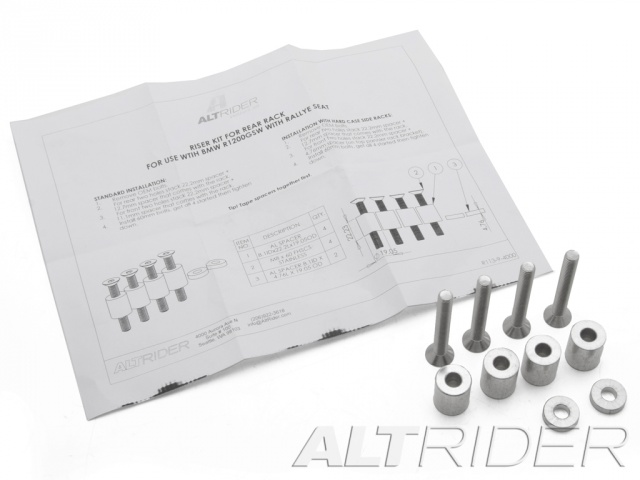 AltRider Rear Rack Spacer Kit for BMW Rallye Seat for the BMW R 1200 & R 1250 GS Water Cooled - Product Contents