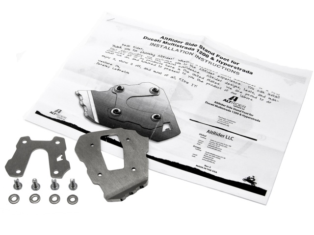 AltRider Side Stand Enlarger for the Ducati Multistrada 950 - Silver - Product Contents
